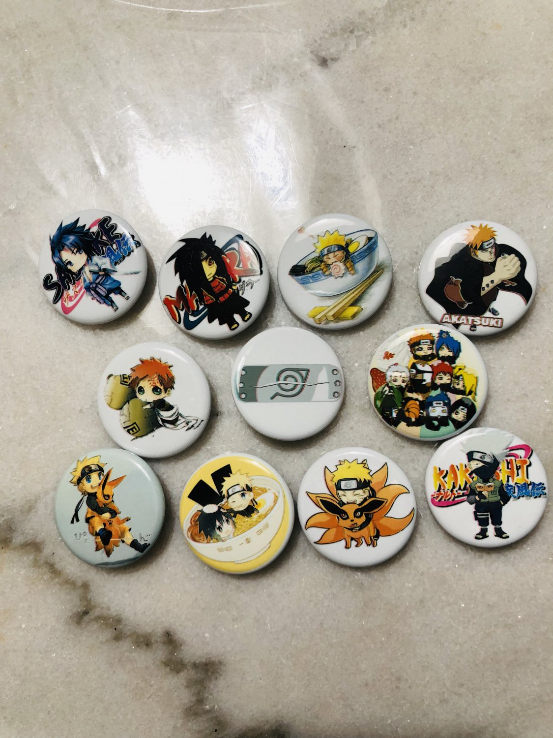 Naruto Characters Buttons Push Back Pins Anime
