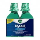 Vicks NyQuil Cold and Flu Nighttime Relief Original Flavor Liquid, 2 x 12 oz