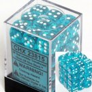 Chessex Dice d6 Sets: Teal with White Translucent - 12mm  (36)