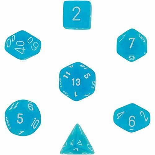 Chessex Dice: Polyhedral 7-Die Frosted Dice Set - Caribbean Blue w/white