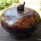 Hand Made Wood Folkart Bowl on Pedestal / Lid Hand Painted Turtle Finial 8""
