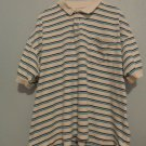 Men's Sun River Polo Shirt White Collar, Tourquoise & Black Stripe, Size XL