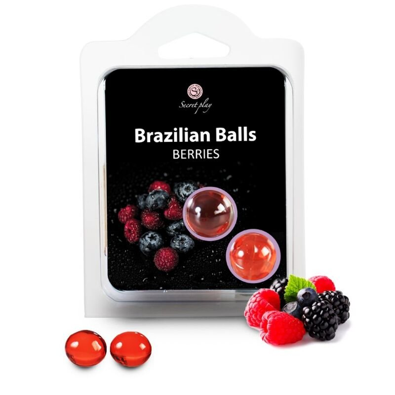 2 Brazilian Balls Berries Flavored Lubricant Massage oil