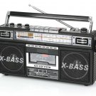 QFX Retro Collection 4-Band Radio & Cassette to MP3 Converter Boombox