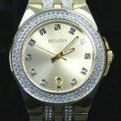 Bulova Men's Gold Tone Gemmed Swarovski Elements Crystal Watch #98B174