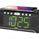 Naxa NRC-190 LED Alarm Clock with Qi Wireless Charger FM Radio Aux Input