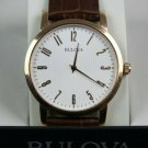 Bulova Men's Gold Finish Wristwatch with Leather Strap #97A106