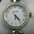 Women's Bulova Silver & Gold Crystal Watch, Swarovski Mother of Pearl #98X109