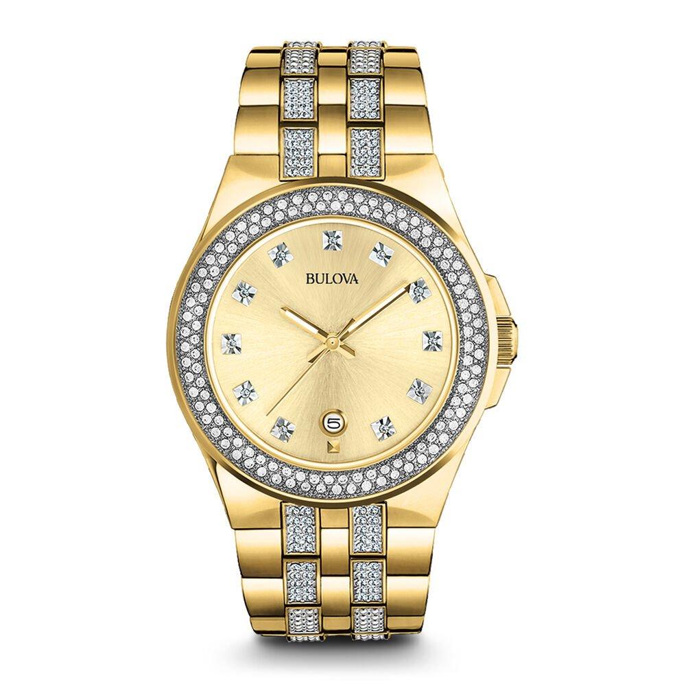 Bulova 98B174 Mens Gold Finish Crystal Watch