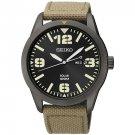 Seiko Men's Black Ion Solar-Powered Analog Watch with Nylon Strap, SNE331