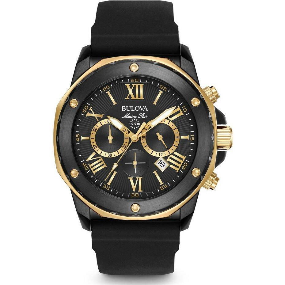 Bulova Men's Black Ion & Gold Marine Star Chronograph Watch, 98B278