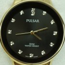Pulsar Men's Gold Tone Stainless Steel Watch w/ Black Dial & 13 Crystals #PG2052
