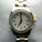 Caravelle Womens Silver & Gold Stainless Watch with 48 Crystal Accent  #45M113