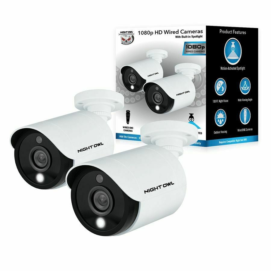 Night Owl 1080p Wired Motion Activated Add-On Home Surveillance Security Camera - 2 Pack