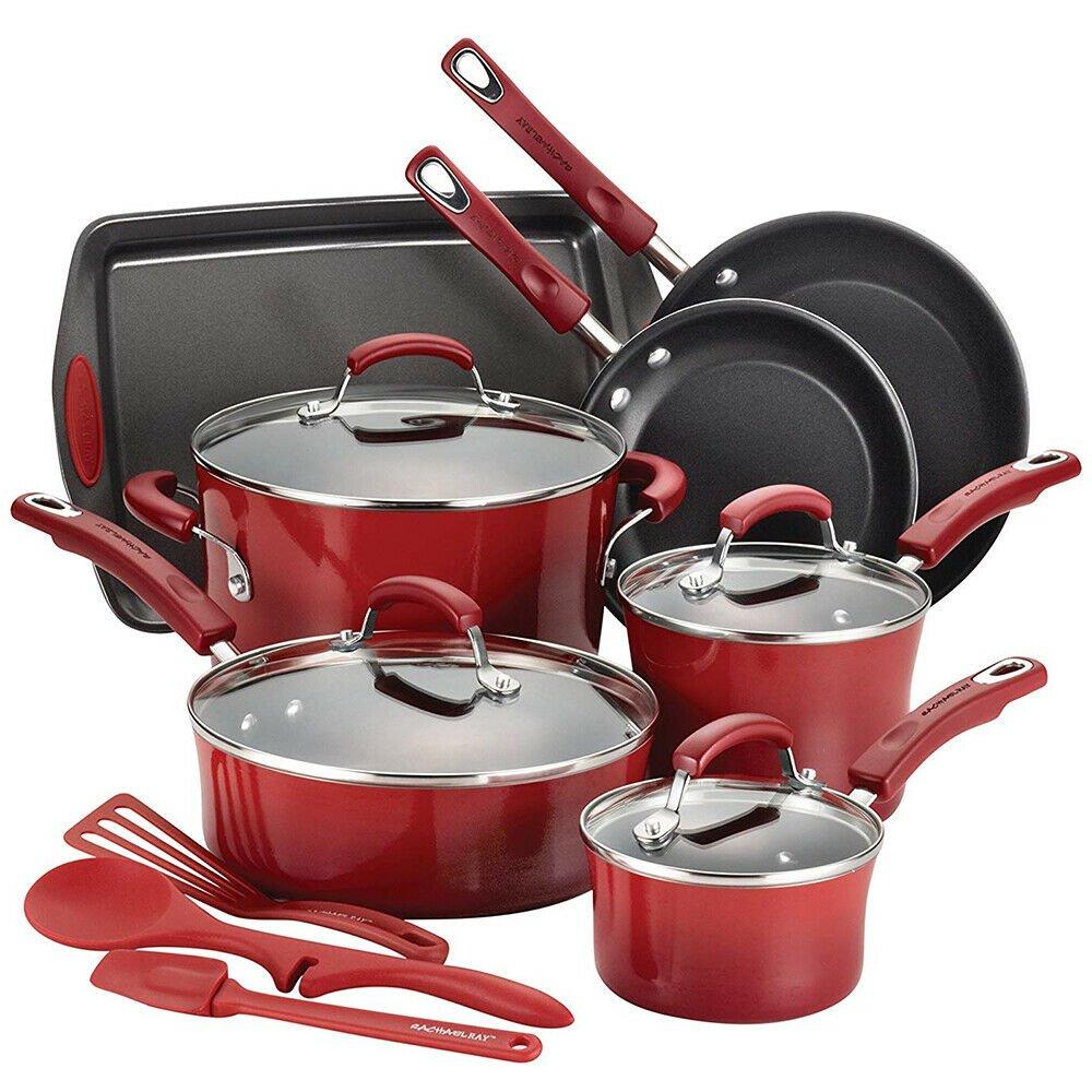 Rachael Ray 14-Piece Kit Red Hard Enamel Nonstick Cookware Set #17628