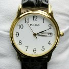 Pulsar Traditional  Men's Gold tone, White Dial, Leather Strap Watch #PXN080