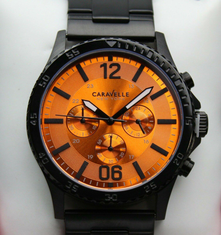 Caravelle New York- Men's Quartz Chronograph Watch, Black Finish #45A108