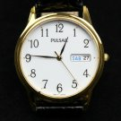 Pulsar Mens Day/Date Watch, Gold Tone, White Dial & Black Leather Strap #PXN080