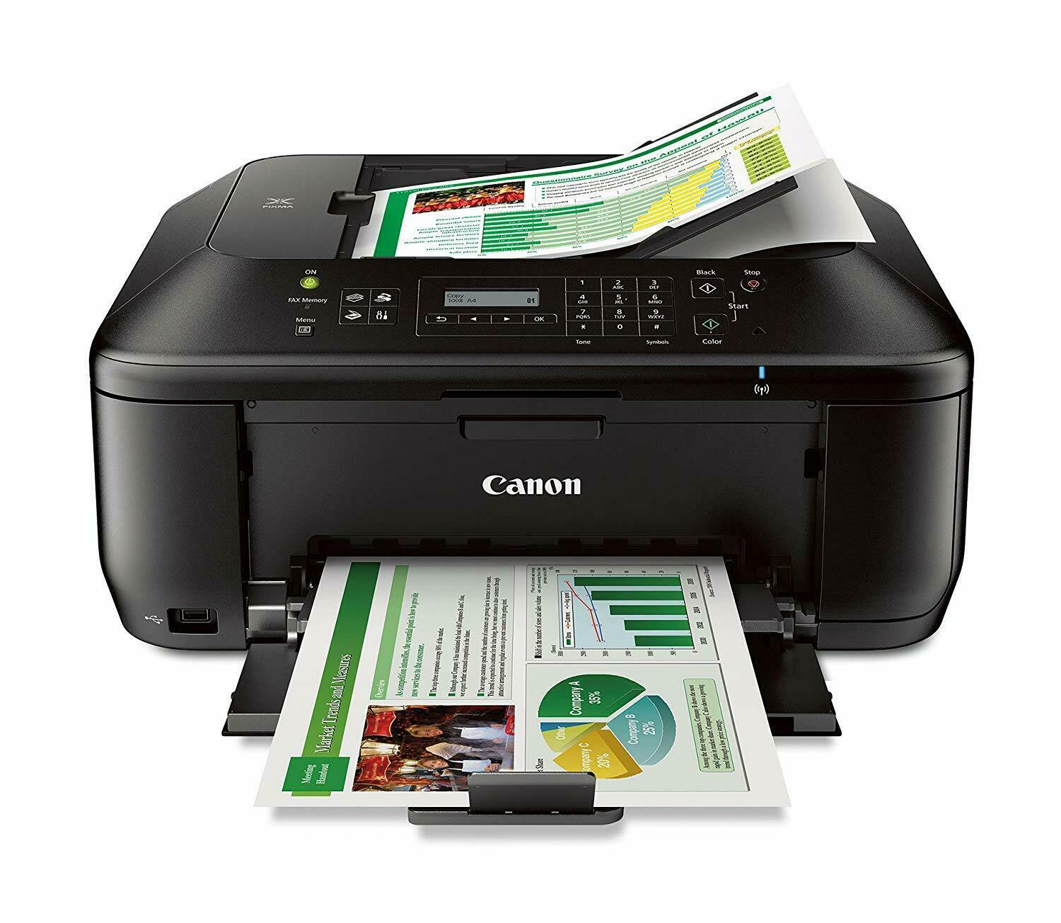 Canon PIXMA MX532 Wireless All-in-One Inkjet Color Printer Scanner Copier Fax
