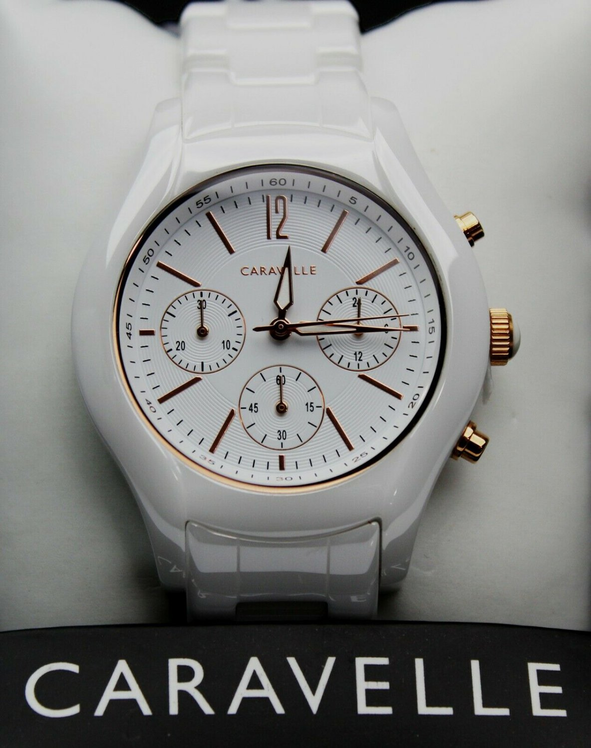 Caravelle New York-  Women's Ceramic Chronograph Analog Watch in White  #45L174