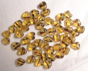 Czech Glass 6mm Tortoise Swirl Puff Heart Beads
