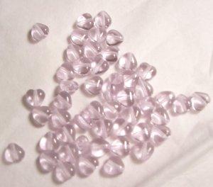 Czech Glass 6mm Alexandrite Purple Puff Heart Beads-25