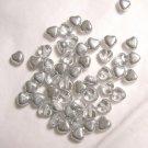 Czech Glass 6mm Silver Color Puff Heart Beads-25