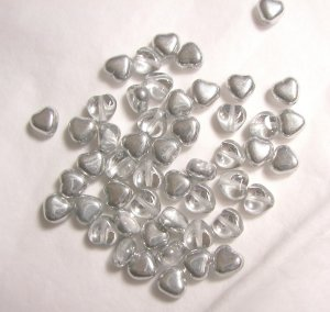 Czech Glass 6mm Silver Color Puff Heart Beads-25