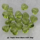 Czech Glass 10mm Olivine Lt Green Puff Heart Beads (30)