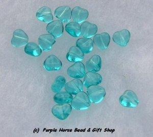 Czech Glass 10mm Lt Aqua Puff Heart Beads (30)