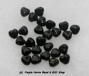 Czech Glass 10mm Black Opaque Puff Heart Beads (30)