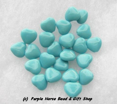 Czech Glass 10mm Turq Blue Opaque Puff Heart Beads (30)