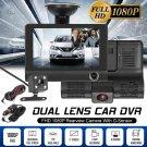 4'' HD 1080P 3 Lens Car DVR Dash Cam Vehicle Video Recorder Rearview Camera 170°