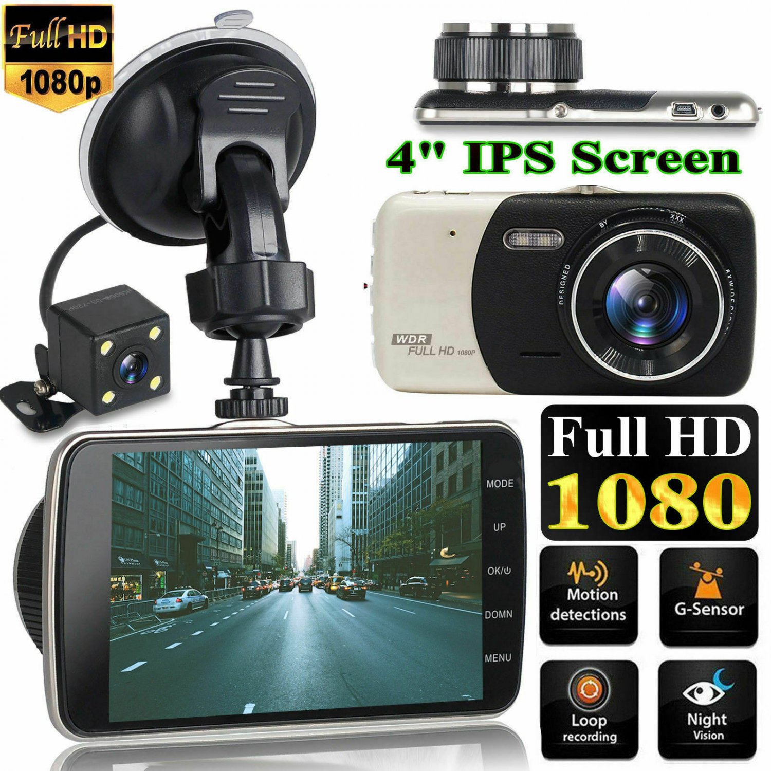 4'' Dual Lens Camera HD 1080P Car DVR Vehicle Video Dash Cam Recorder G-Sensor Y