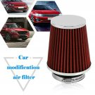 """Red Universal 3"""" Car Air Filter Cleaner Intake High Flow Short COLD Round Cone"""
