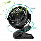 Portable Fan Rechargeable Battery Mini Oscillating Clip On Desk Stroller Black