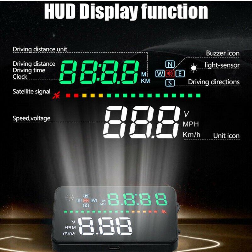 Universal Car Digital GPS Speedometer Head Up Display HUD Tired Warning Alarm Y