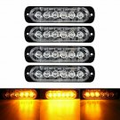 4pc Amber 6 LED Car Truck Emergency Beacon Warning Hazard Flash Strobe Light Bar