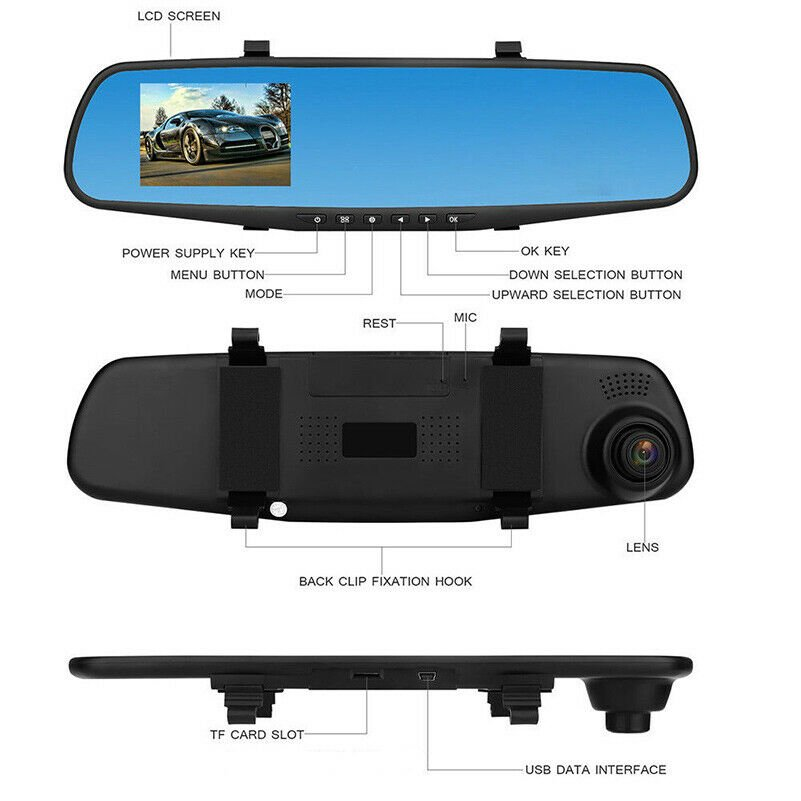 """1080P Wide Angle Len Vehicle Mirror Car DVR Camera 4.3"""" Driving Recorder New"""