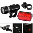Waterproof 5 LED Lamp Bike Bicycle Front Head Light+Rear Safety Flashlight Set Y