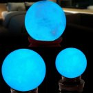 1Pcs Blue Luminous Quartz Crystal Sphere Ball Glow In The Dark Stone 35MM CHY