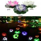 Floating Solar Powered LED Lotus Flower Light Pond Pool Garden Landscape Lamp Y