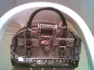 AUTHENTIC BABY PHAT GRAY AND BLACK HARD TO FIND HANDBAG