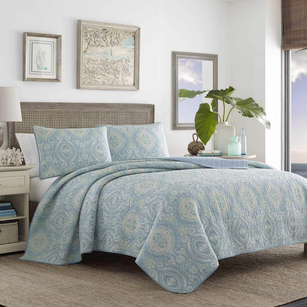 * NEW * Tommy Bahama Turtle Cove Reversible Quilt Set (Aqua, Full/Queen) (Kayleigh & Co.)