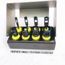 Dental Implant Trephine Drills Kit 8 Pcs Titanium Coated Surgical Cutting Bur Holder