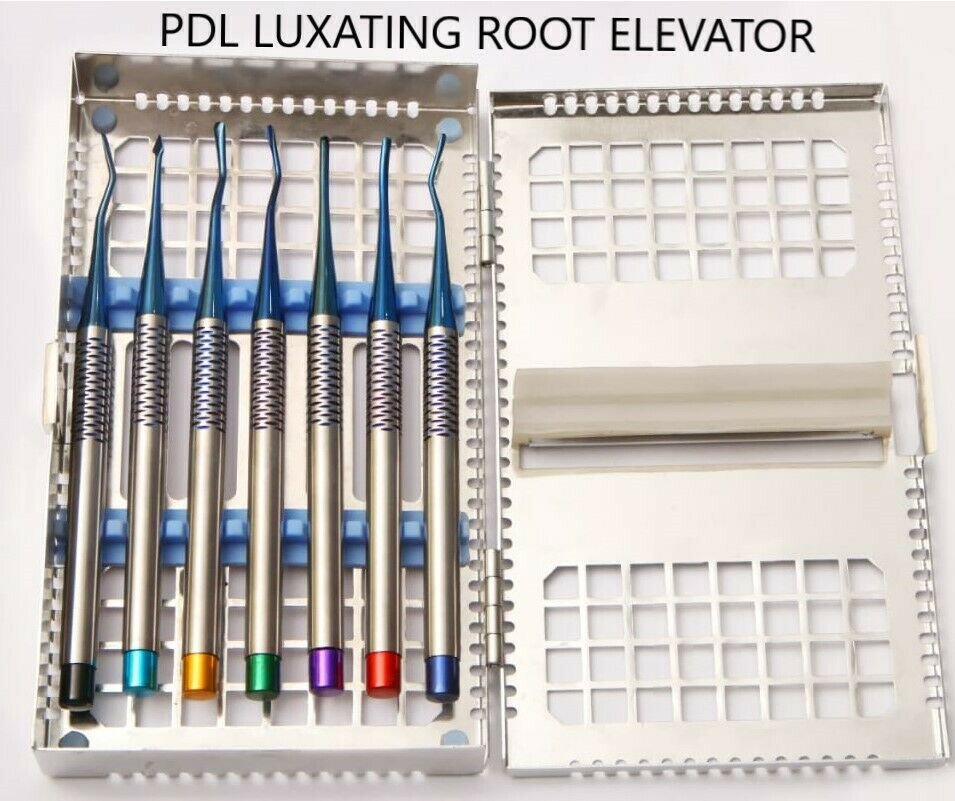 7 PCs PDL Luxating Root Elevator Periotome Luxators For Tooth Extraction with Sterilization Cassette