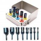 8 PCs Dental Trephine Drills / Burs Set Kit Titanium Coated