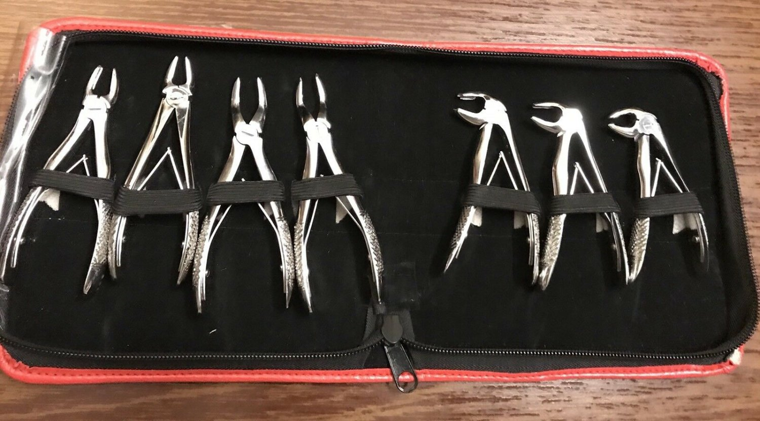 Pedo Children Dental Extracting Forceps 7 Pcs Kit with Pouch Dental Instruments