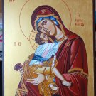 Virgin Mary Sweet Kissing - Hand-painted, Orthodox icon, with acrylic colors on plywood.