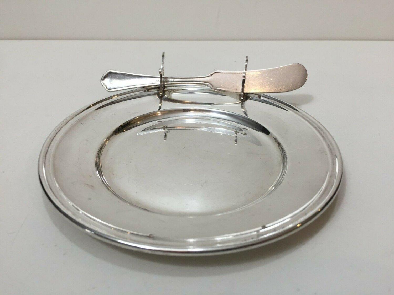 "Vintage Gorham Sterling Silver Butter Plate with Knife Rest, 6"" Diameter"